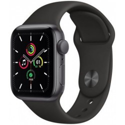 Smartwatch Apple Watch SE, Retina LTPO OLED Capacitive touchscreen 1.57inch, Bluetooth, Wi-Fi, Bratara Silicon 40mm, Carcasa Aluminiu, Rezistent la apa (Negru)