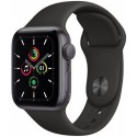 Smartwatch Apple Watch SE, Retina LTPO OLED Capacitive touchscreen 1.57inch, Bluetooth, Wi-Fi, Bratara Silicon 40mm, Carcasa Aluminiu, Rezistent la apa (Negru)