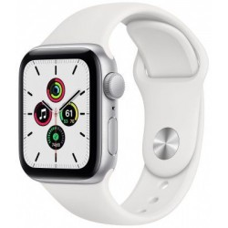 Smartwatch Apple Watch SE, Retina LTPO OLED Capacitive touchscreen 1.78inch, Bluetooth, Wi-Fi, Bratara Silicon 44mm, Carcasa Aluminiu, Rezistent la apa (Alb)
