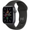 Smartwatch Apple Watch SE, Retina LTPO OLED Capacitive touchscreen 1.78inch, Bluetooth, Wi-Fi, Bratara Silicon 44mm, Carcasa Aluminiu, Rezistent la apa (Negru)