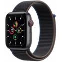 Smartwatch Apple Watch SE Cellular, Retina LTPO OLED Capacitive touchscreen 1.57inch, Bluetooth, Wi-Fi, 4G, Bratara Sport Loop 40mm, Carcasa Aluminiu, Rezistent la apa (Negru)