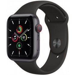 Smartwatch Apple Watch SE Cellular, Retina LTPO OLED Capacitive touchscreen 1.78inch, Bluetooth, Wi-Fi, 4G, Bratara Silicon 44mm, Carcasa Aluminiu, Rezistent la apa (Negru)