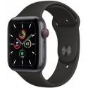 Smartwatch Apple Watch SE Cellular, Retina LTPO OLED Capacitive touchscreen 1.78inch, Bluetooth, Wi-Fi, 4G, Bratara Silicon 44mm, Carcasa Aluminiu, Rezistent la apa (Negru)
