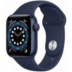 Smartwatch Apple Watch S6, Retina LTPO OLED Capacitive touchscreen 1.57inch, Bluetooth, Wi-Fi, Bratara Silicon 40mm, Carcasa Aluminiu, Rezistent la apa (Albastru inchis)