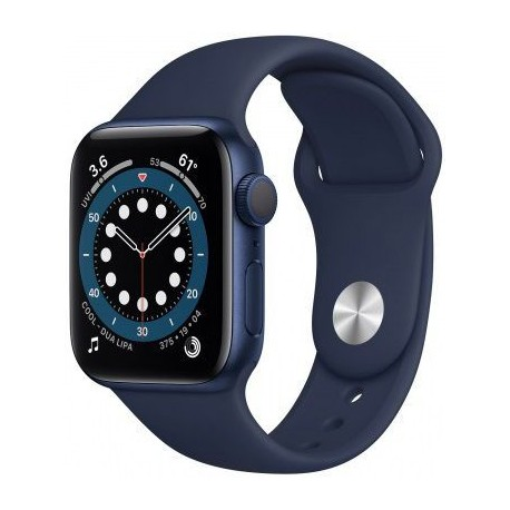 Smartwatch Apple Watch S6, Retina LTPO OLED Capacitive touchscreen 1.57inch, Bluetooth, Wi-Fi, Bratara Silicon 40mm, Carcasa Aluminiu, Rezistent la apa (Albastru inchis)