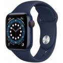 Smartwatch Apple Watch S6 Cellular, Retina LTPO OLED Capacitive touchscreen 1.57inch, Bluetooth, Wi-Fi, 4G, Bratara Silicon 40mm, Carcasa Aluminiu, Rezistent la apa (Albastru inchis)