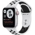 Smartwatch Apple Watch SE Nike Cellular, Retina LTPO OLED Capacitive touchscreen 1.78inch, Bluetooth, Wi-Fi, 4G, Bratara Silicon 44mm, Carcasa Aluminiu, Rezistent la apa (Alb/Negru)