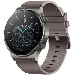 Smartwatch Huawei Watch GT 2 Pro, Display AMOLED 1.39inch, 32MB RAM, 4GB Flash, Bluetooth, GPS, Carcasa Titan, Bratara Piele, Rezistent la apa, Android/iOS (Gri)