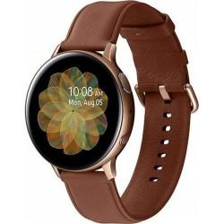 Smartwatch Samsung Galaxy Watch Active 2 SM-R825, Procesor Dual-Core 1.15GHz, Super AMOLED 1.4inch, 1.5GB RAM, 4GB Flash, Bluetooth, Wi-Fi, 4G, Carcasa Otel, Bratara Piele 44mm, Rezistent la apa si praf, Tizen (Auriu/Maro)