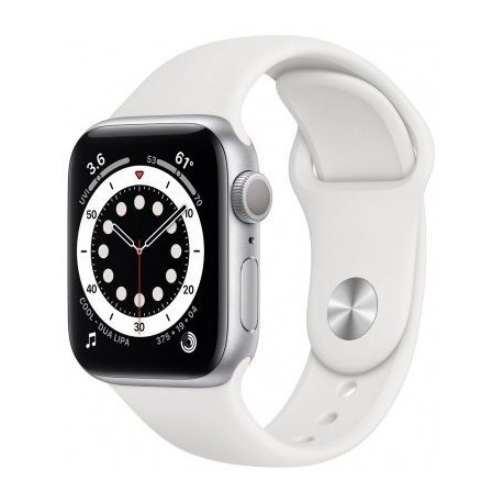 "Smartwatch Apple Watch S6, Retina 1.57"", Bratara Silicon 40mm, Carcasa Aluminiu, Rezistent la apa, Alb"