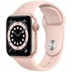 Smartwatch Apple Watch S6, Retina LTPO OLED Capacitive touchscreen 1.57inch, Bluetooth, Wi-Fi, Bratara Silicon 40mm, Carcasa Aluminiu, Rezistent la apa (Roz)